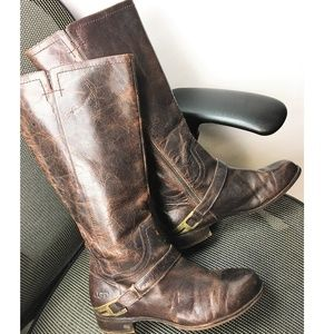 UGG Channing II Chestnut Leather Riding Boots